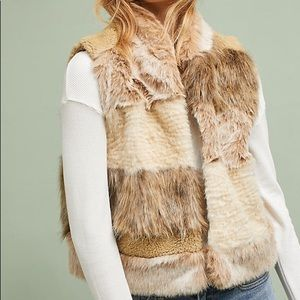 Anthropologie Mixed Faux Fur Vest Large